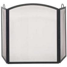 UniFlame 52-Inch 3 Fold Black Wrought Iron Fireplace Screen With Handles - S-1506