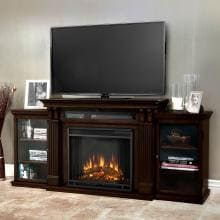 Real Flame Calie 67-Inch Electric Fireplace Entertainment Center - Dark Walnut - 7720E-DW Real Flame Ashley 67-Inch Electric Fireplace Media Console - Shown Installed in Room