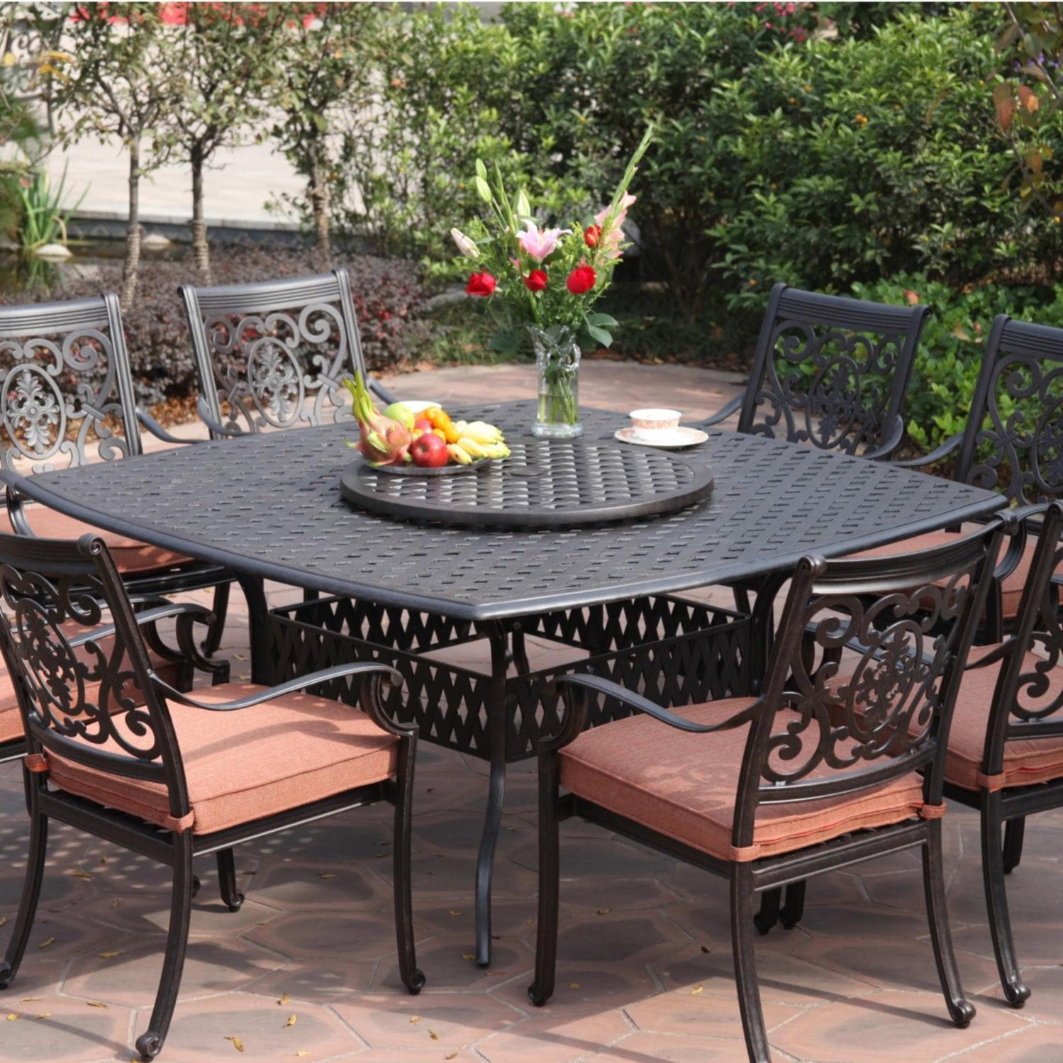 Darlee St Cruz 9 Piece Cast Aluminum Patio Dining Set With Lazy Susan