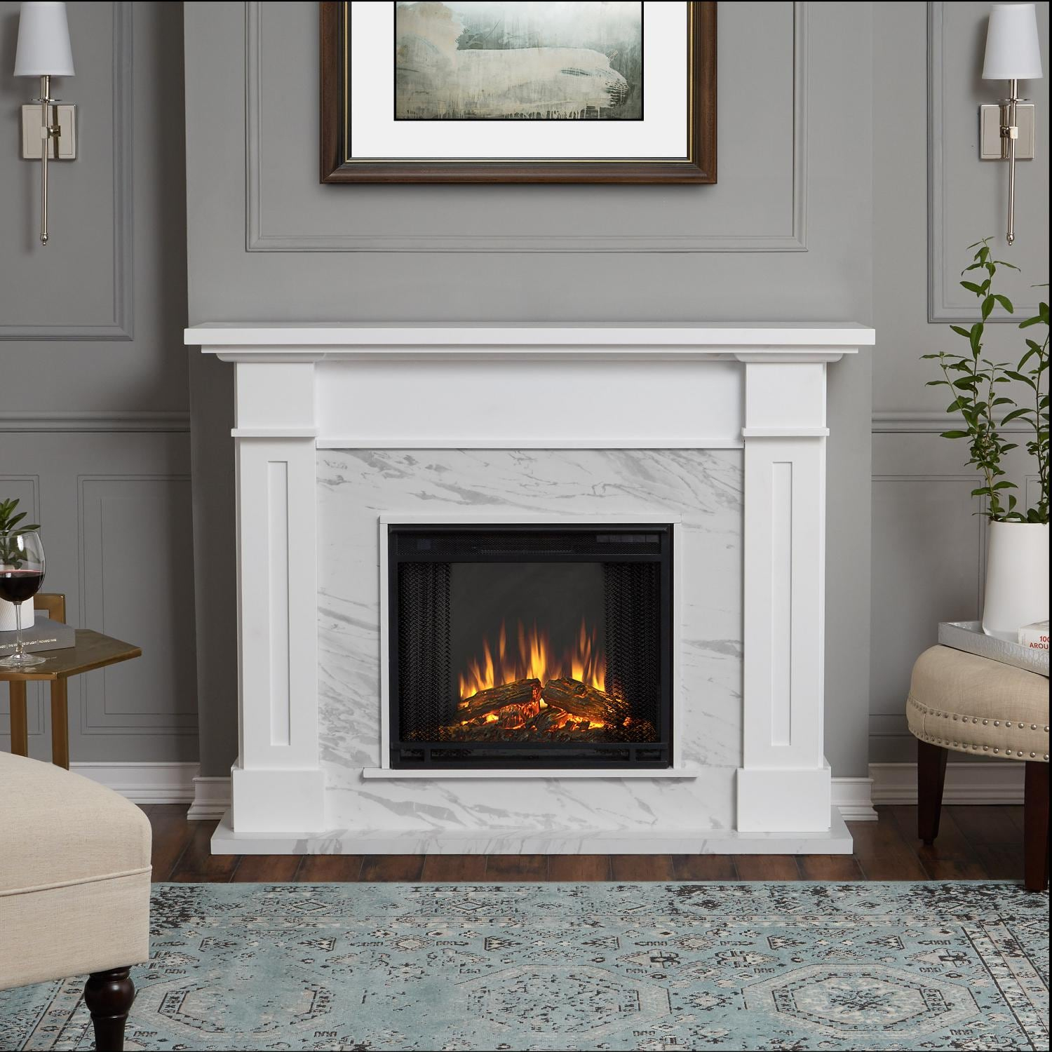 The Kipling Fireplace Mantel features clean lines and a textured slate firebox surround