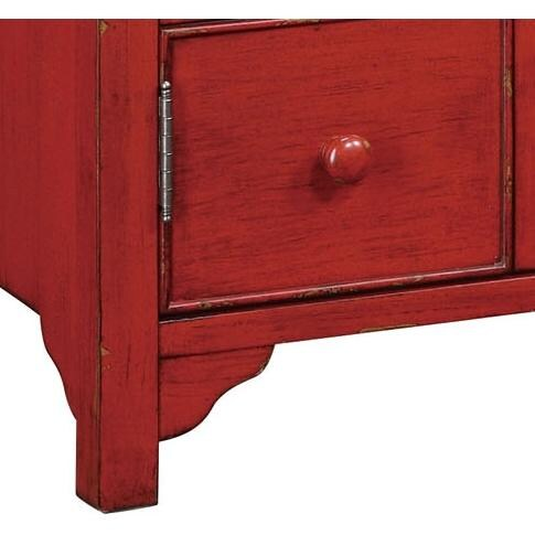 powell furniture distressed red media console 384 275 base detail