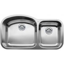 Blanco Wave 37 X 20 18-Gauge 1-3/4 Double Bowl Stainless Steel Undermount Sink - 440242 Blanco Wave 37 X 20 18-Gauge Double Bowl Stainless Steel Undermount Sink - 440242 (Shown With Drain - Not Included)