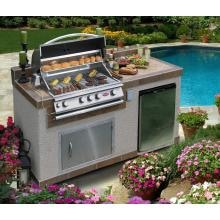 Cal Flame BBQ Island With 32-Inch Cal Flame Propane Gas BBQ Grill Cal Flame BBQ Island With Tropical Cream Granite Counter Top / Stony Creek Base