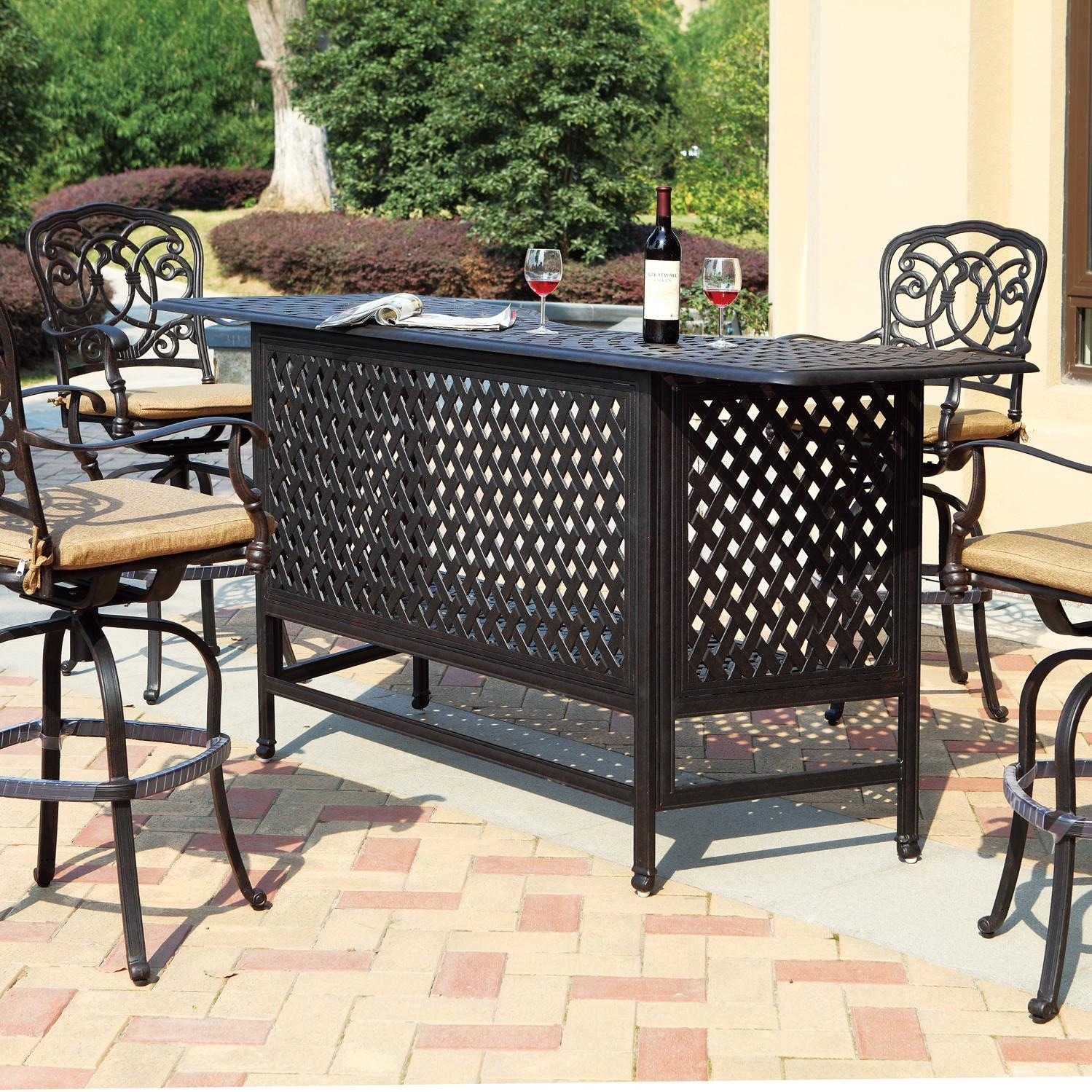 Darlee Florence 5 Piece Cast Aluminum Patio Party Bar Set
