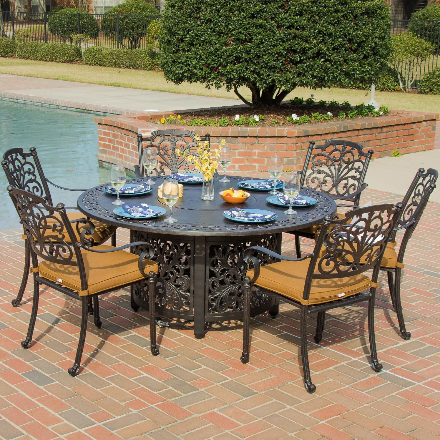 Evangeline 7 piece cast aluminum patio fire pit dining set for Canvas dining