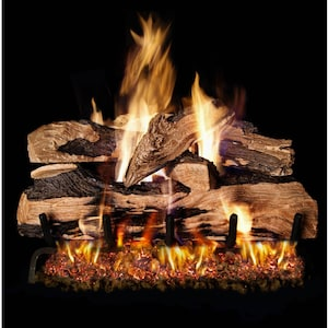 Peterson Real Fyre 18-Inch Split Oak Designer Plus Gas Log Set With Vented Natural Gas G4 Burner - Match Light image