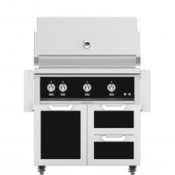 Hestan 36-Inch Propane Gas Grill W/ Rotisserie On Double Drawer & Door Tower Cart - Stealth - GABR36-LP-BK image