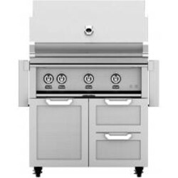 Hestan 36-Inch Natural Gas Grill W/ Rotisserie On Double Drawer & Door Tower Cart - Steeletto - GABR36-NG-SS image
