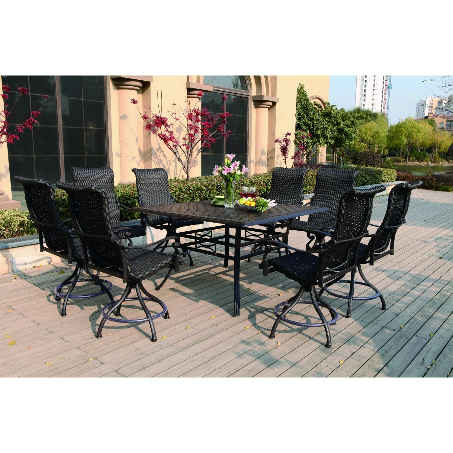 Darlee victoria 9 piece resin wicker counter height patio dining set with swivel chairs bbq guys