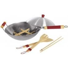 Concept Housewares WK-14017 Easy-Grip Silicone/Wood Handle 14 Inch Professional 7-piece Carbon Steel Wok Set