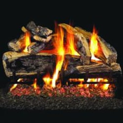 Peterson Real Fyre 24-Inch Charred Rugged Split Oak Gas Log Set With Vented Propane ANSI Certified G46 Burner - Electronic On/Off Remote image