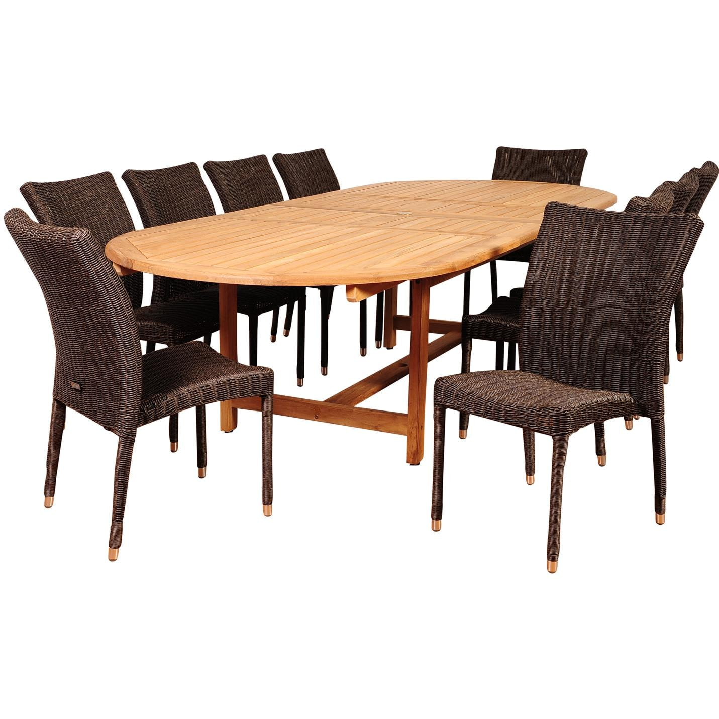 Amazonia district 10 person resin wicker patio dining set for Outdoor dining sets for 10