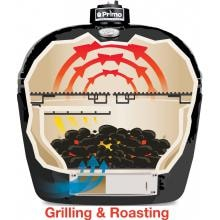 Primo All-In-One Oval Large Ceramic Kamado Grill With Cradle & Side Shelves - 7500 Primo All-In-One Oval Large Ceramic Kamado Grill With Cradle & Side Shelves - Cooking Configuration - Grilling & Roasting