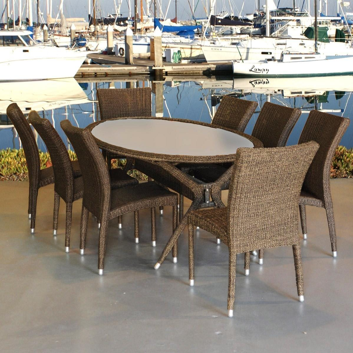 Atlantic Bari 8 Person Resin Wicker Patio Dining Set With