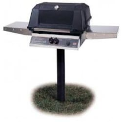 MHP WNK4DD Natural Gas Grill With Stainless Steel Shelves And SearMagic Grids On In-Ground Post image