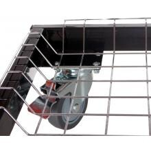 Primo Steel Cart With Stainless Steel Side Tables For Oval Junior Primo Cart - Basket and Caster Detail