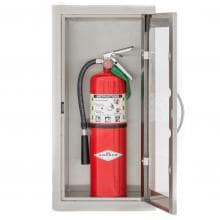 BBQGuys.com 14-Inch Stainless Steel Raised 10 Lb. Fire Extinguisher Cabinet BBQGuys.com Stainless Steel Right-Hinged Raised Fire Extinguisher Cabinet - Opened Door With Fire Extinguisher (Not Included)
