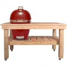 Grill Dome Infinity Series Large Kamado Grill On Cypress Table - Red Grill Dome Infinity Series Large Kamado Grill On Cypress Table - Red