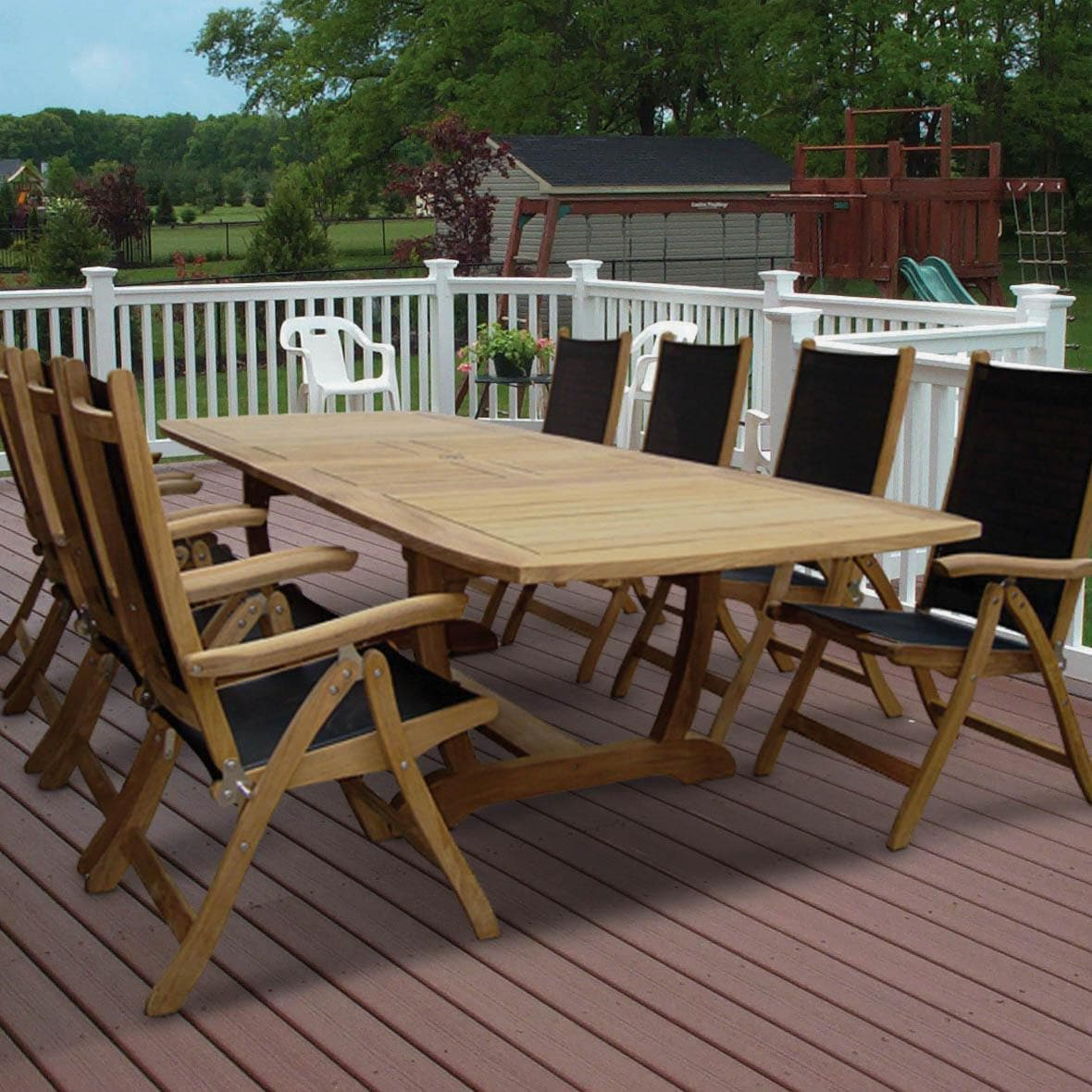 Royal Teak Collection Florida 8 Person Sling Dining Set W/ 118 Inch  Expansion Table U0026