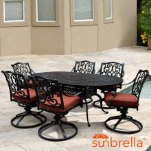 Villa Flora 7 Piece Cast Aluminum Patio Dining Set W/ Oval Table, Swivel Rockers & Sunbrella Canvas Henna Cushions By Lakeview Outdoor Designs image