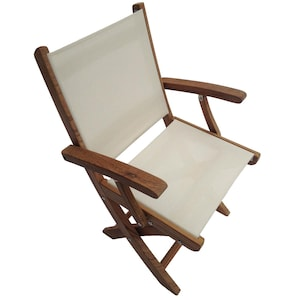 Sailmate Folding Teak Patio Dining Arm Chair W/ White Sling By Royal Teak Collection image