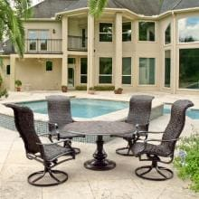 Du Monde 5 Piece Banana Leaf Wicker Patio Dining Set W/ 48-Inch Round Pedestal Dining Table & Swivel Rockers By Lakeview Outdoor Designs