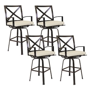 La Jolla 4 Piece Aluminum Patio Counter Height Swivel Bar Stool Set W/ Sunbrella Canvas Flax Cushions By Sunset West image