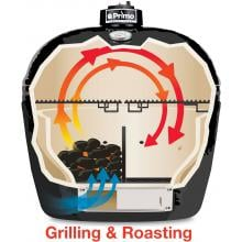 Primo Ceramic Charcoal Smoker Grill - Oval XL Primo Oval Cooking Configuration - Grilling & Roasting