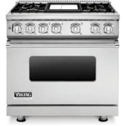 Viking Professional 7 Series 36-Inch 4 Burner Propane Gas Dual Fuel Range With Griddle - Stainless Steel - VDR7364GSSLP image
