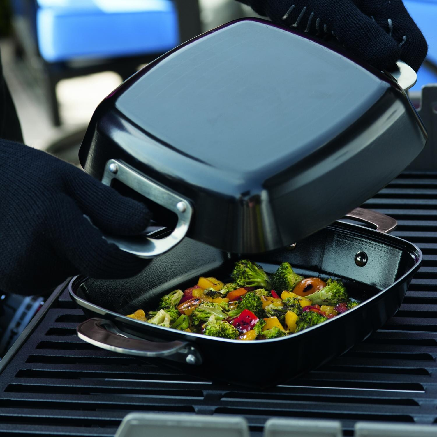 Weber 6732 Deluxe Ceramic Coated Grill Pan Set 2 Pieces