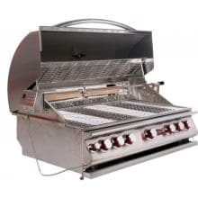 Cal Flame 40-Inch 5-Burner Convection Built-In Propane Gas BBQ Grill With Rotisserie - BBQ15875CP Cal Flame Gas Grills 40 Inch 5 Burner Convection Gas Grill - Left Side View with Lid Open