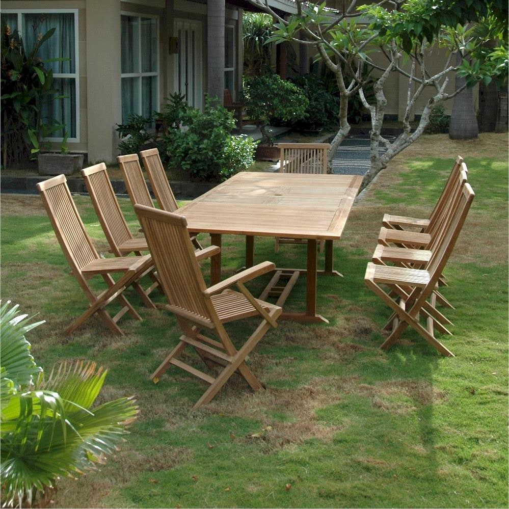Anderson teak valencia 10 person teak patio dining set for Outdoor dining sets for 10