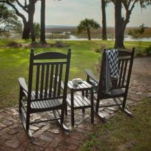 POLYWOOD Jefferson 3 Piece Recycled Plastic Wood Patio Rocking Chair Set - Black image