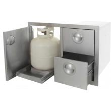 Portofino Series Double Drawer & Roll Out Propane Tank Storage Open with Tank