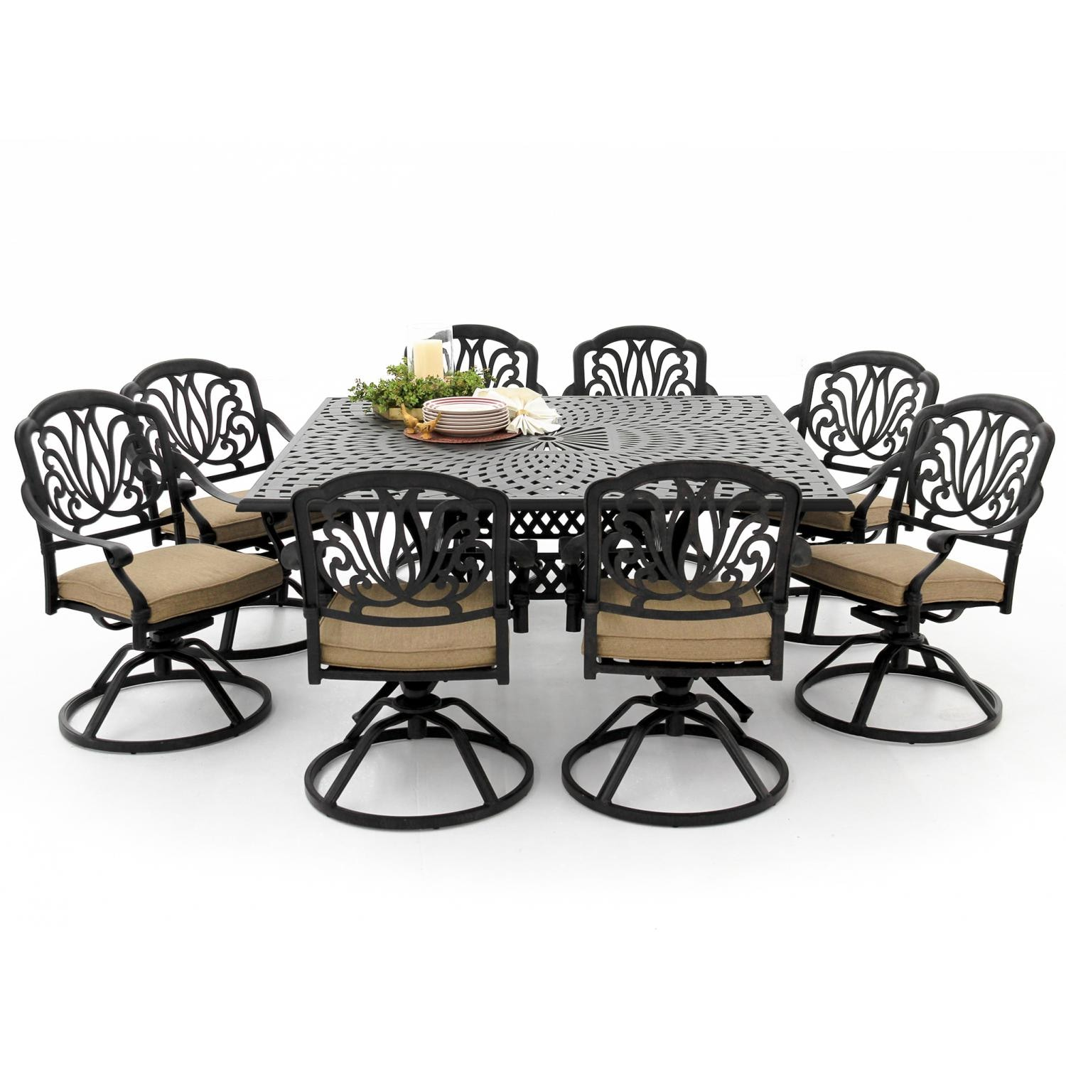 Rosedown 9 Piece Cast Aluminum Patio Dining Set With Swivel Rockers And  Square Table By Lakeview Outdoor Designs   Linen Sesame