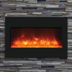 Amantii Zero Clearance Built-In 33-Inch Electric Fireplace with Black Glass Surround - ZECL-33-3624 image