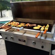 TEC Patio FR 44-Inch Built-In Infrared Natural Gas Grill - PFR2NT TEC Patio FR 44-Inch Infrared Grill - Grilling Kabobs (Shown with Warming Rack - Sold Separately)
