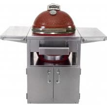 Kamado Joe Classic 18-Inch Freestanding Ceramic Grill W/ Stainless Bands On Small Stainless Steel Cart