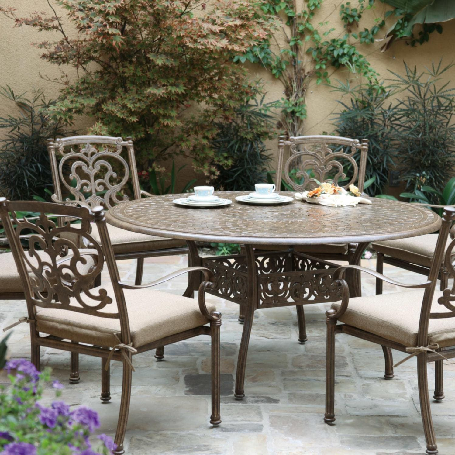 Darlee santa barbara 7 piece cast aluminum patio dining for Outdoor dining sets for 10