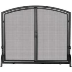 UniFlame 39-Inch Black Wrought Iron Fireplace Screen With Doors - S-1062 image