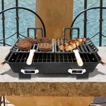 Cast Iron Hibachi Tabletop Charcoal BBQ Grill Cast Iron Hibachi Tabletop Charcoal BBQ Grill With Food