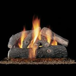 Rasmussen 30-Inch Frosted Oak Gas Log Set With Vented Natural Gas Custom Embers Pan Burner - Match Light image