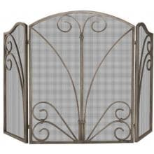 UniFlame 55-Inch 3 Fold Venetian Bronze Fireplace Screen With Decorative Scrollwork - S-1662 image