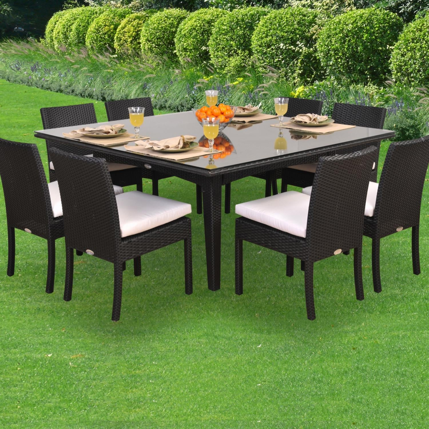 caluco maxime 8-person resin wicker patio dining set with glass