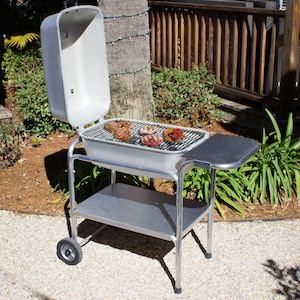 Portable Kitchen Cast Aluminum Charcoal Grill & Smoker - Classic Silver image