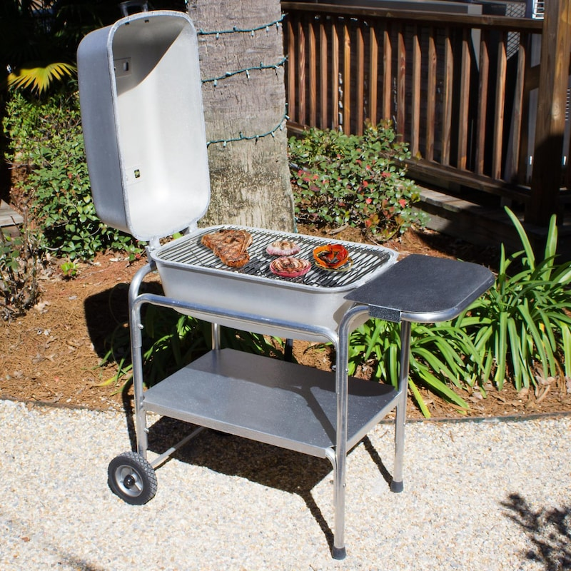 Portable Kitchen Cast Aluminum Charcoal Grill Smoker Clic Silver
