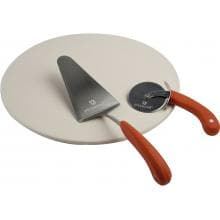 3-Piece Ceramic Pizza Stone & Serving Set  Ceramic Pizza Stone & Serving Set - Full View