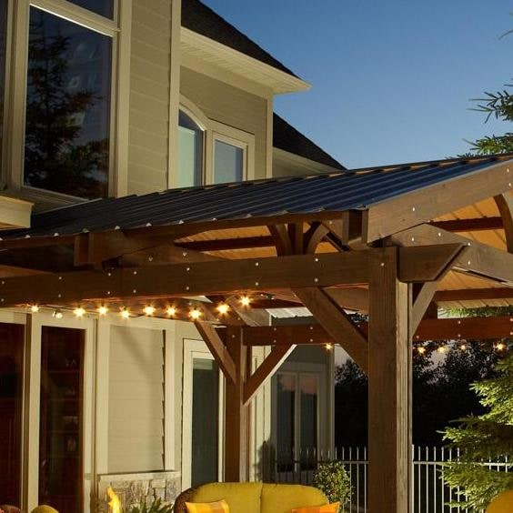 Metal Roof for Lodge II 14 x 14 Foot Wood Pergola by Outdoor GreatRoom  Company - Metal Roof For Lodge II 14 X 14 Foot Wood Pergola By Outdoor