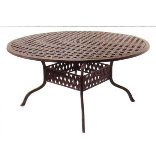 Darlee Palm Springs Cast Aluminum Patio Dining Table Set With Cushions 60 Inch Round Perschoice