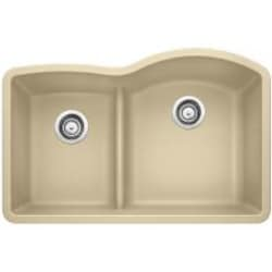 Blanco Diamond 30 X 20 Silgranit II 1-3/4 Reverse Low-Divide Double Bowl Undermount Sink - Biscotti - 441607 image